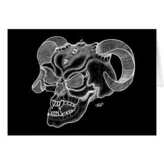 Skull devil head black knows design card