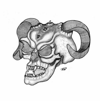 Skull devil head black knows design cutout