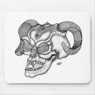 Skull devil head black knows design mouse pad