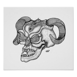 Skull devil head black knows design poster