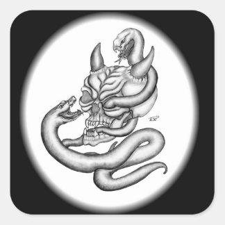 Skull - devil heads with snake pegatina cuadrada