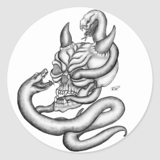 Skull - devil heads with snake pegatina redonda