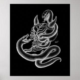 Skull - devil heads with snake póster
