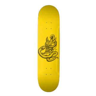 Skull - devil heads with snake skateboard deck