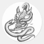 Skull - devil heads with snake sticker