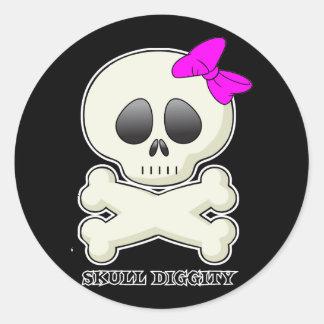 Skull-Diggity-Girl Classic Round Sticker