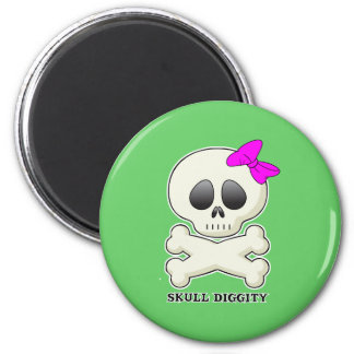 Skull-Diggity-Girl Fridge Magnets