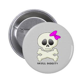 Skull-Diggity-Girl Pinback Buttons
