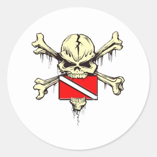 skull dive flag classic round sticker