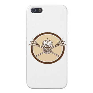 Skull Dolphin Fish Crossed Spears Circle Retro Case For iPhone SE/5/5s