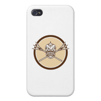 Skull Dolphin Fish Crossed Spears Circle Retro iPhone 4/4S Cover