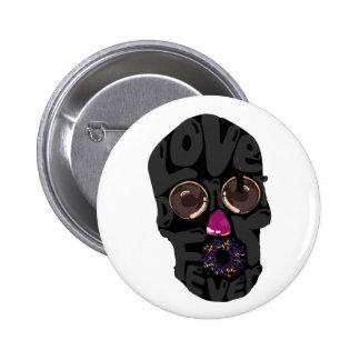 skull-donut pinback button