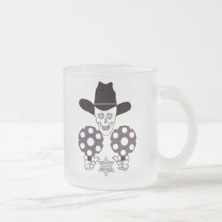 skull double gun badge sheriff frosted glass coffee mug