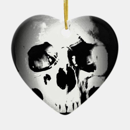 Skull Double-Sided Heart Ceramic Christmas Ornament
