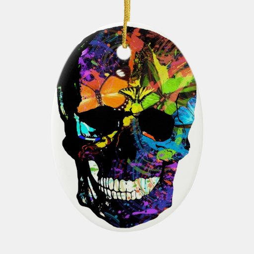 Skull Double-Sided Oval Ceramic Christmas Ornament