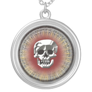 Skull doubloon round pendant necklace