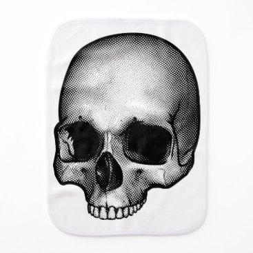 Halloween Themed Skull Drawing Baby Burp Cloth