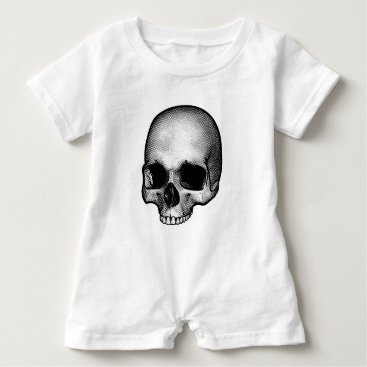 Halloween Themed Skull Drawing Baby Romper