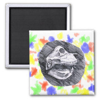 Skull drawing imaginary animal sketch 2 inch square magnet