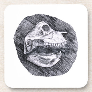 Skull drawing imaginary animal sketch drink coaster