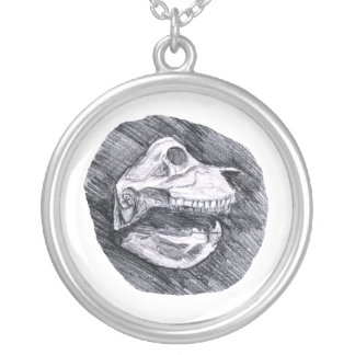 Skull drawing imaginary animal sketch round pendant necklace