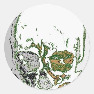 Skull Drawing Round Sticker