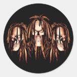 Skull Dreadlocks Round Sticker