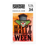 Skull dressed up as a clown says Happy Halloween, Stamp