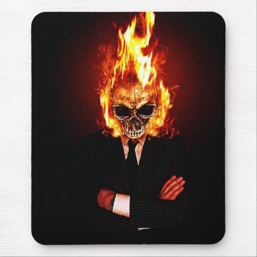 Skull él fuego alfombrillas de ratón