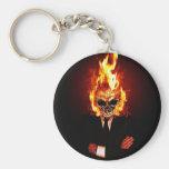 Skull él fuego llavero personalizado
