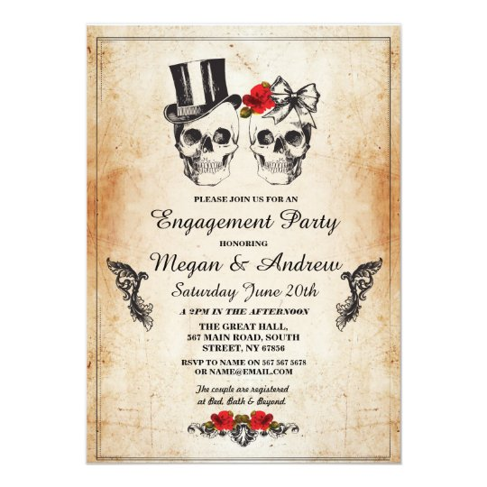 Skull Engagement Party Halloween Gothic Invite Zazzlecom