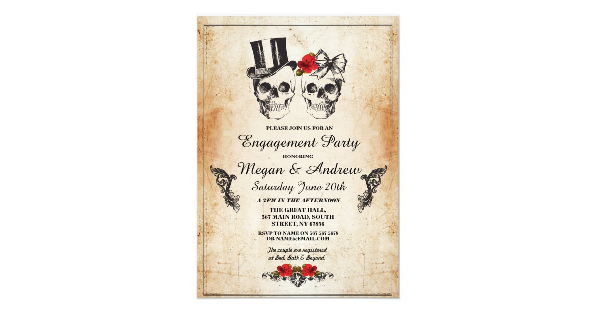 Skull Engagement Party Halloween Gothic Invite | Zazzle.com
