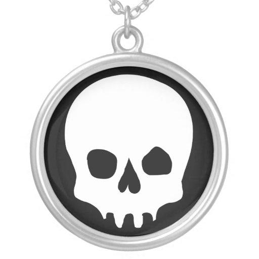 Skull Evil Graphic Block Print Silver Necklace
