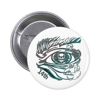 Skull Eye 14th Birthday Gifts Button