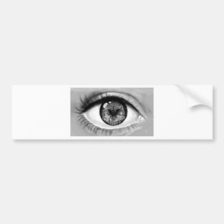 Skull eye double vision bumper sticker