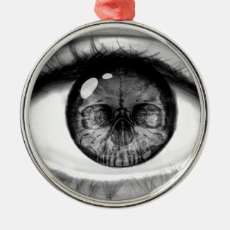 Skull eye double vision metal ornament