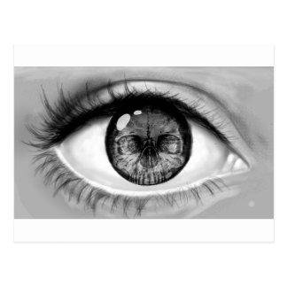 Skull eye double vision postcard