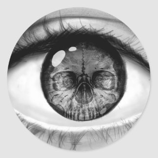 Skull eye double vision round stickers