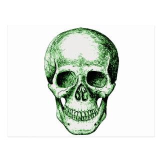 Skull Face Green Postcard