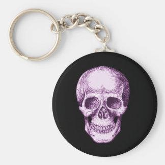 Skull Face Purple Basic Round Button Keychain