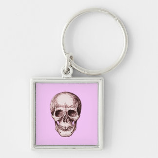 Skull Face Red Silver-Colored Square Keychain