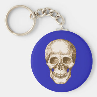Skull Face Sepia Basic Round Button Keychain