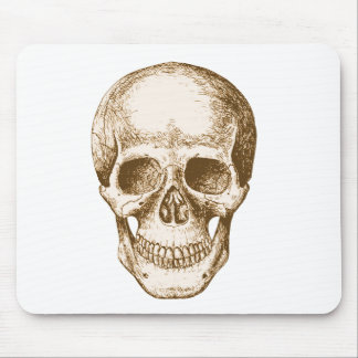 Skull Face Sepia Mouse Pad