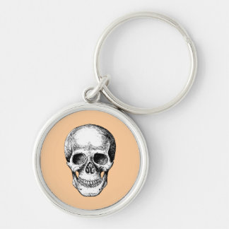 Skull Face White Silver-Colored Round Keychain