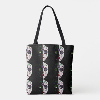 Skull Face Woman Mask Purse Tote Bag