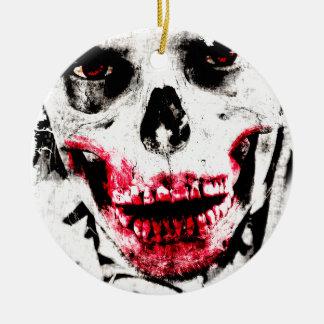 Skull Face Zombie Man Creepy Horror Ceramic Ornament