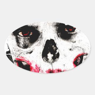 Skull Face Zombie Man Creepy Horror Oval Sticker