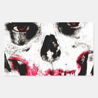 Skull Face Zombie Man Creepy Horror Rectangular Sticker