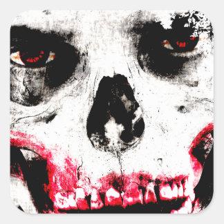 Skull Face Zombie Man Creepy Horror Square Sticker