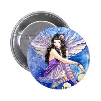 Skull Fairy, gothic dark fantasy purple moth art Button